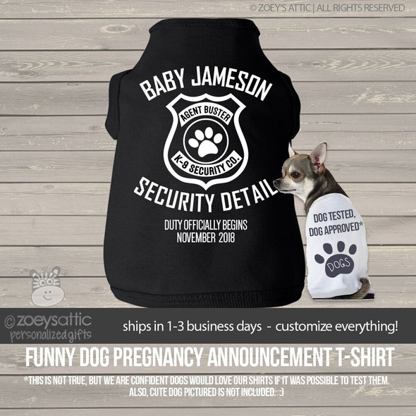 Security detail pregnancy announcement dog DARK Tshirt