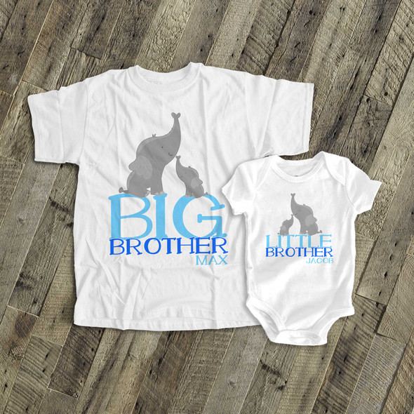 Big brother little brother or sister elephant sibling Tshirt set