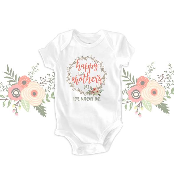 First Mother's Day vine wreath bodysuit or Tshirt