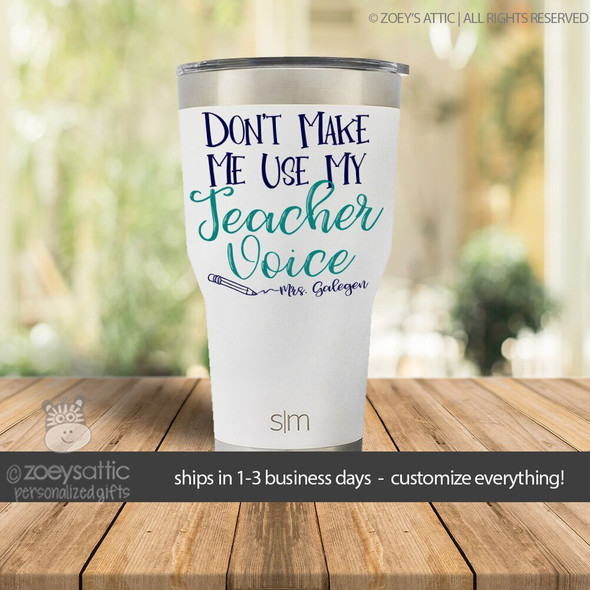 Teacher voice personalized stainless steel tumbler