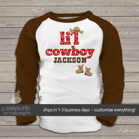 Cowboy western buckaroo personalized raglan shirt