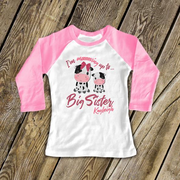 Big sister moo cow personalized raglan Tshirt