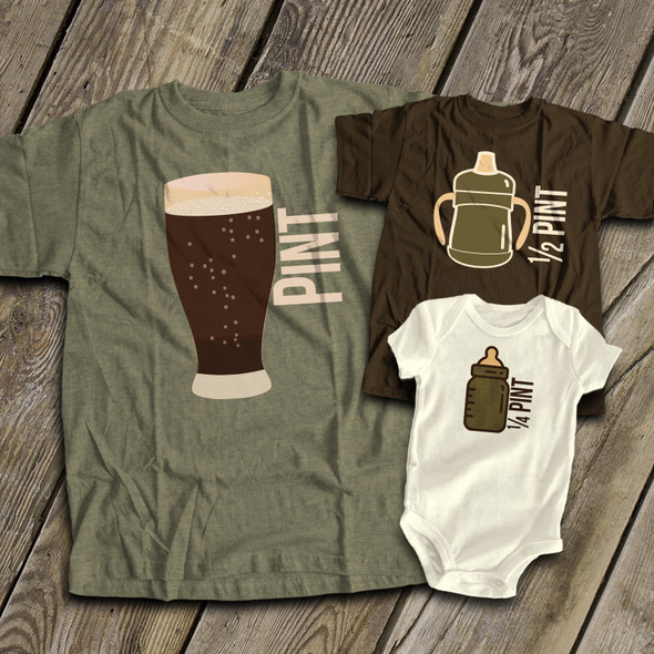 Pint size matching THREE dark shirt gift set