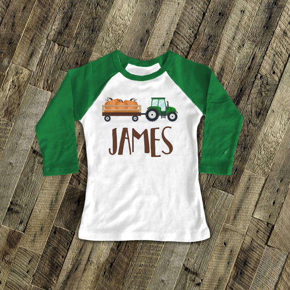 Fall shirt tractor and pumpkin personalized raglan Tshirt