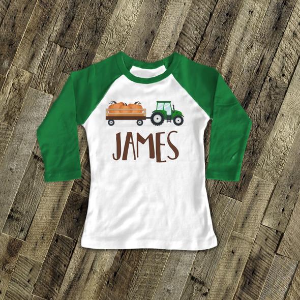 Fall shirt tractor and pumpkin personalized raglan Tshirt