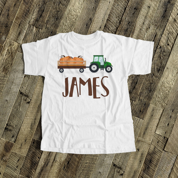 Fall shirt tractor and pumpkin personalized Tshirt
