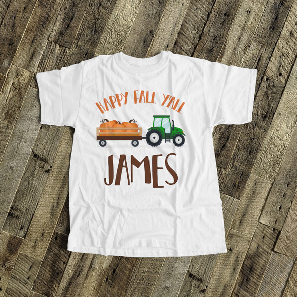 Fall shirt tractor happy fall y'all personalized Tshirt