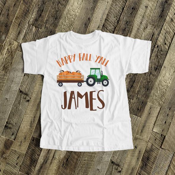 Fall shirt tractor happy fall y'all personalized Tshirt