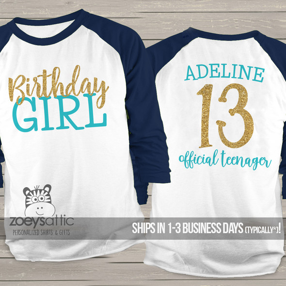Thirteenth birthday girl official teenager glitter youth raglan shirt