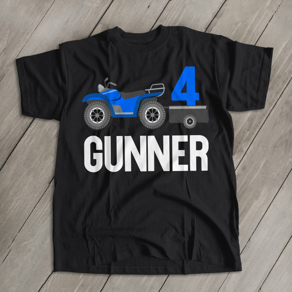 ATV four wheeler any age birthday DARK tshirt