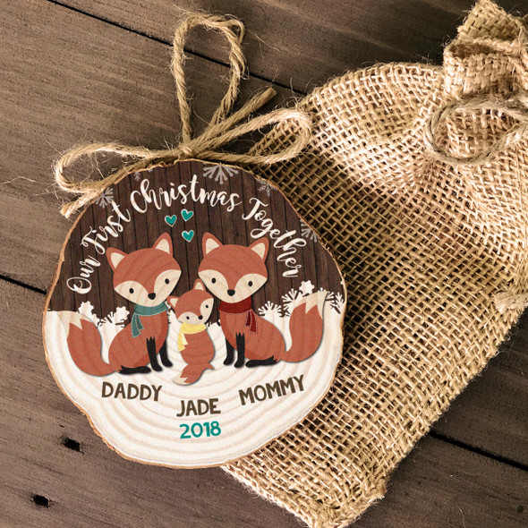 First Christmas together daddy mommy baby woodland fox wood slice ornament