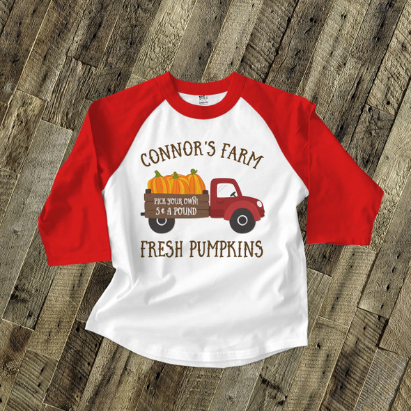 Pumpkin patch truck farm personalized raglan shirt