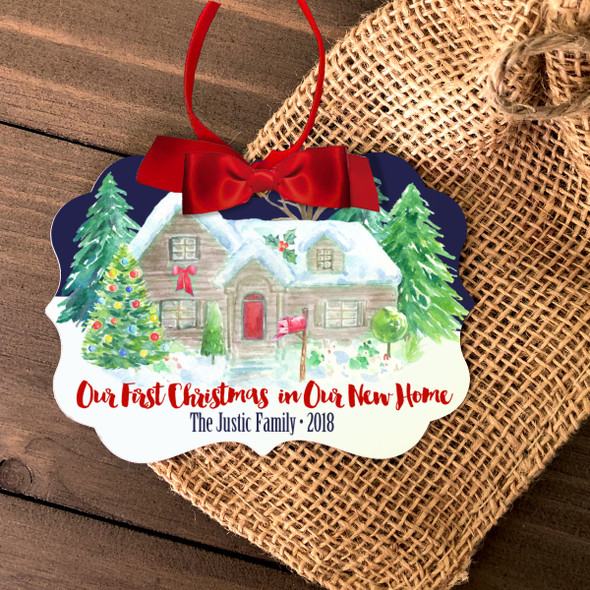 Our First Christmas new home watercolor personalized ornament