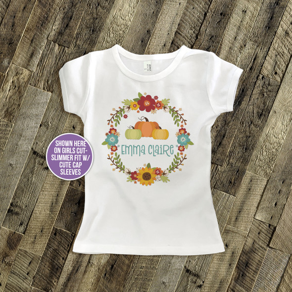 Fall wreath pumpkin personalized Tshirt