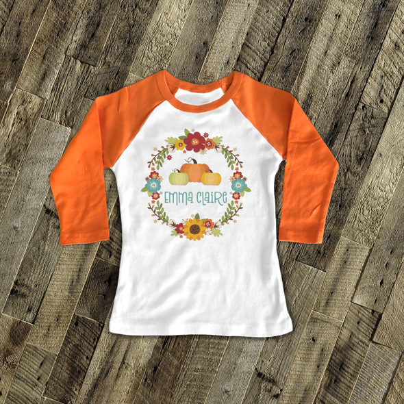 Fall wreath pumpkin personalized raglan shirt