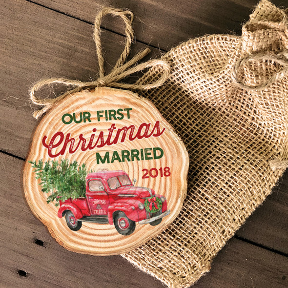 First Christmas married vintage truck tree farm wood slice ornament