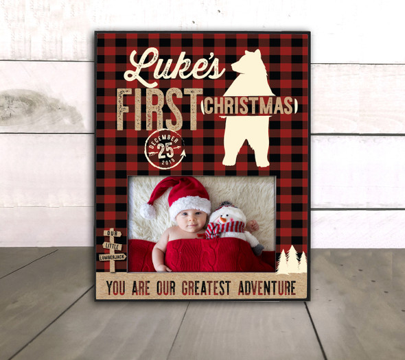 Baby's First Christmas adventure lumberjack buffalo plaid photo frame