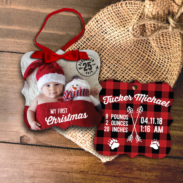 First Christmas birth statistics buffalo plaid photo ornament