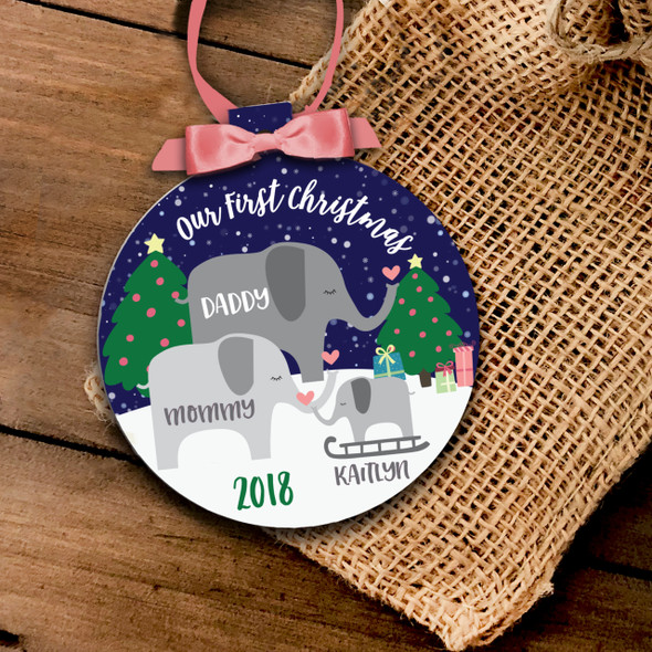 Our First Christmas elephant family ornament