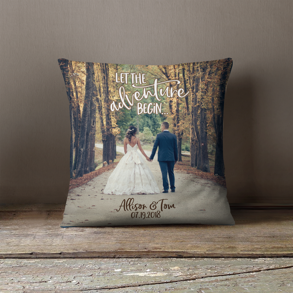 Wedding photo let the adventure begin throw pillowcase pillow