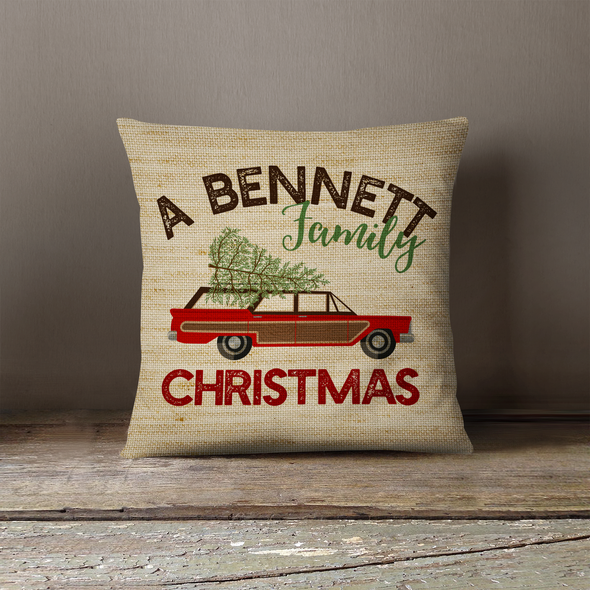 Retro family Christmas personalized pillowcase pillow