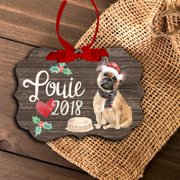 Fawn French bulldog personalized Christmas ornament