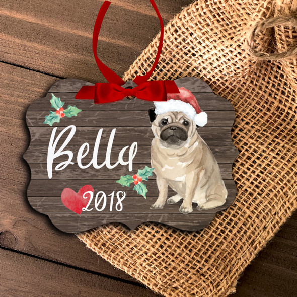 Pug dog personalized Christmas ornament