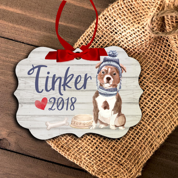 Pit Bull personalized Christmas ornament