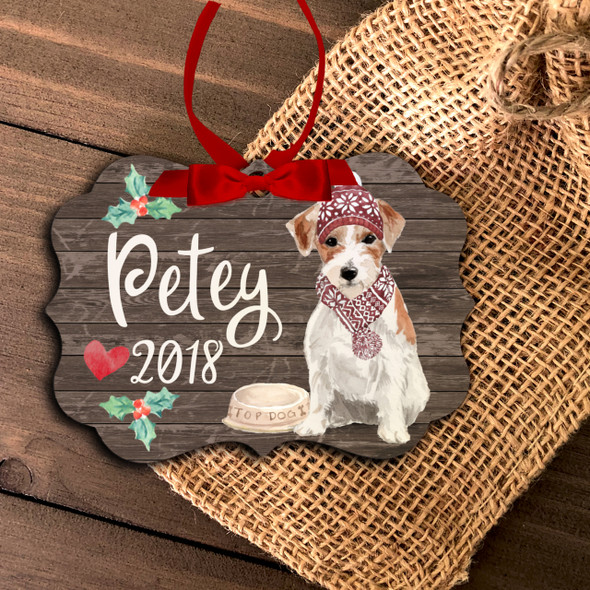 Jack Russell terrier personalized Christmas ornament
