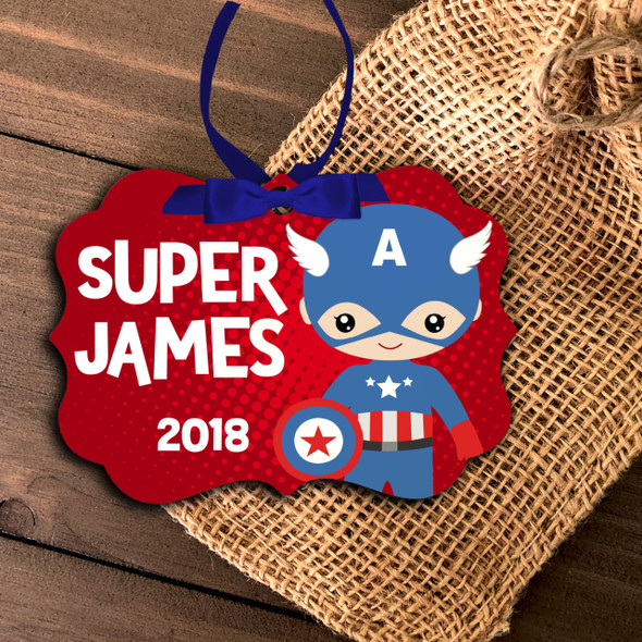 Superhero captain costume boy personalized ornament