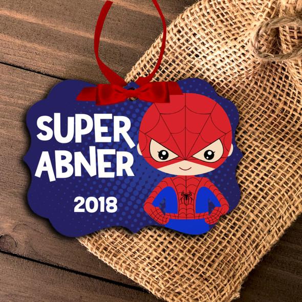 Superhero spider costume boy personalized ornament