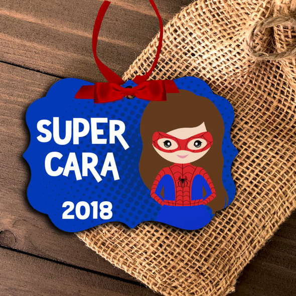 Superhero spider costume girl personalized ornament