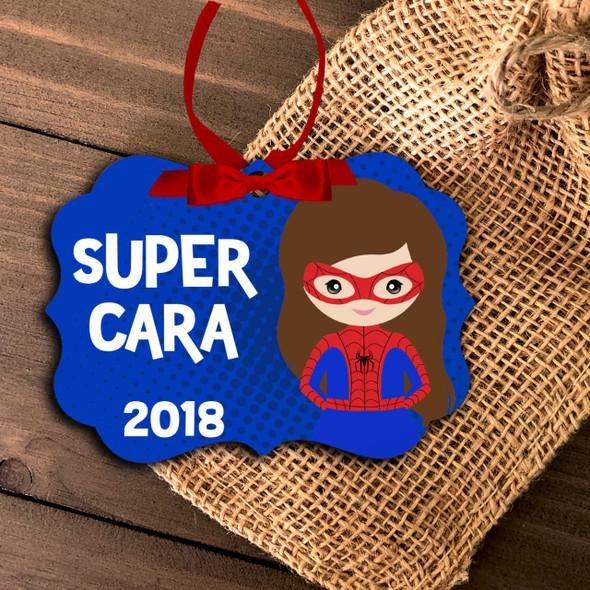 Superhero spider costume girl personalized ornament