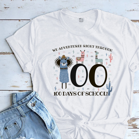 Teacher 100 days llamas adventured right through Tshirt