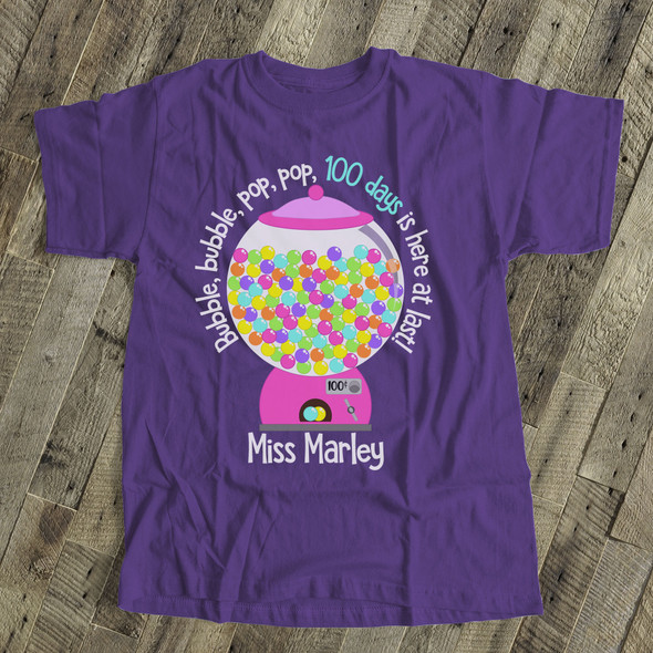 Teacher 100 days bubble gum DARK Tshirt
