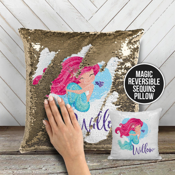 Personalized mermaid decorative sequin pillowcase pillow