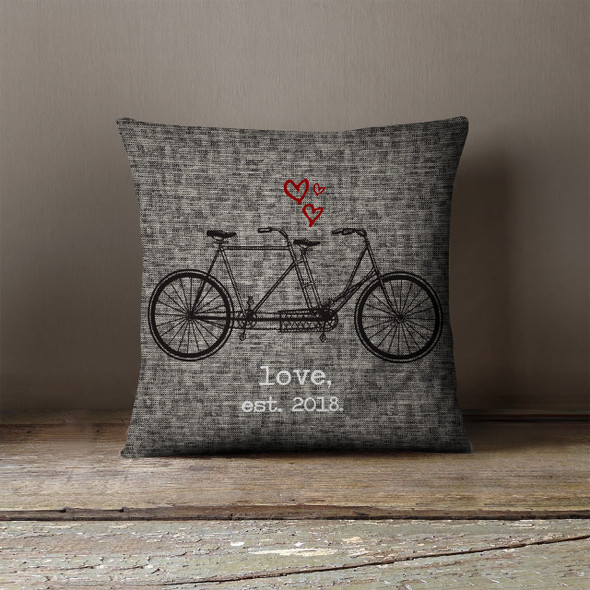 Valentine vintage tandem bicycle love est pillowcase pillow