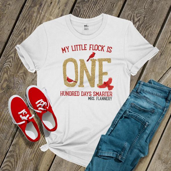 Teacher 100 days smarter cardinal glitter vinyl Tshirt