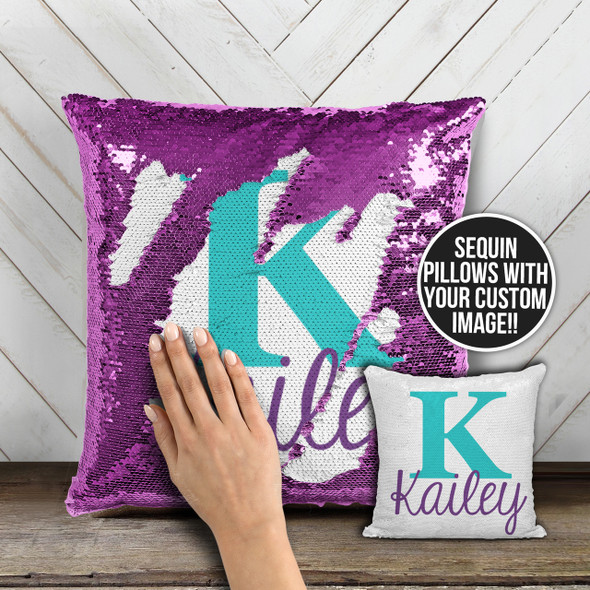 Personalized monogram decorative sequin pillowcase pillow