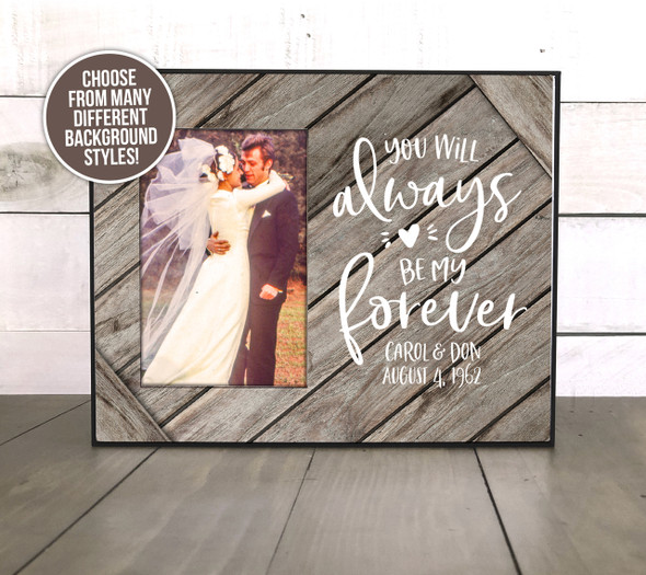 Wedding anniversary milestone couples gift personalized photo frame
