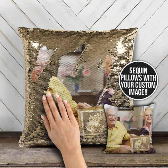 Wedding anniversary milestone couples photo magic reversible sequin pillowcase pillow