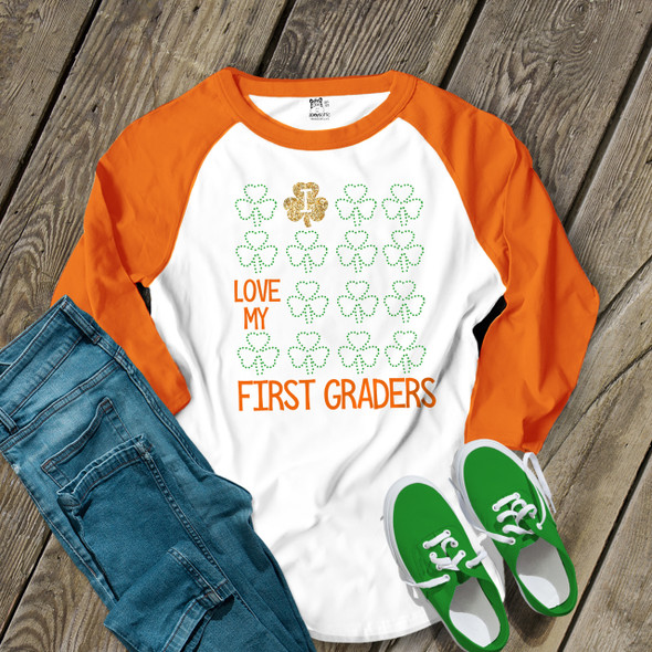St. Patricks Day teacher I love my first graders or any grade glitter or foil shamrock adult raglan shirt