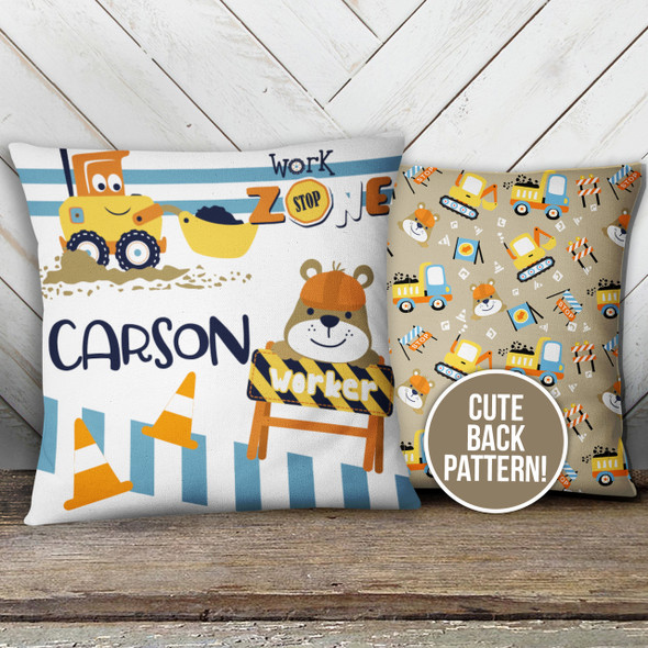 Construction work zone throw pillowcase with optional pillow insert