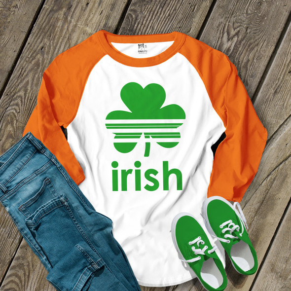 St. Patrick's Day striped shamrock irish adult raglan shirt