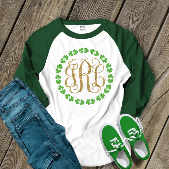 St. Patricks Day glitter monogram shamrock wreath adult raglan shirt