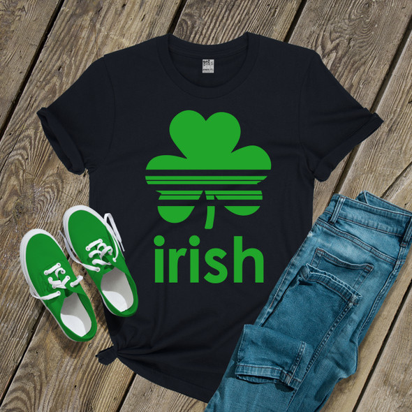 St. Patrick's Day striped shamrock irish adult unisex DARK Tshirt