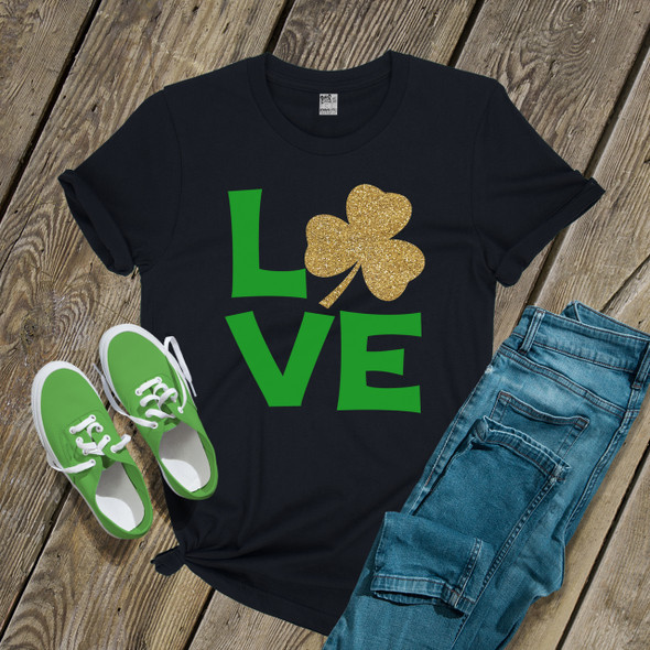 St. Patricks Day love glitter shamrock DARK shirt