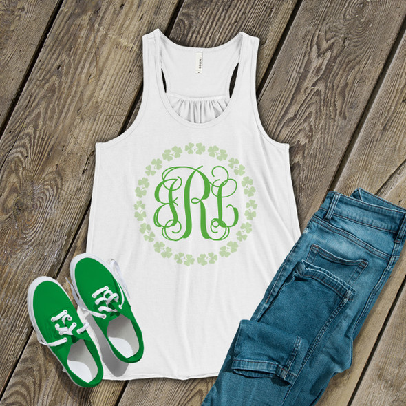 St. Patrick's Day monogram shamrock wreath womens flowy tank top