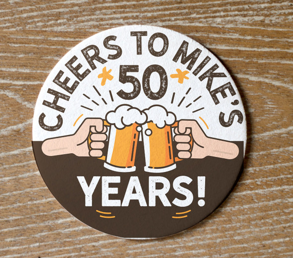 Birthday cheers custom round pulpboard coasters
