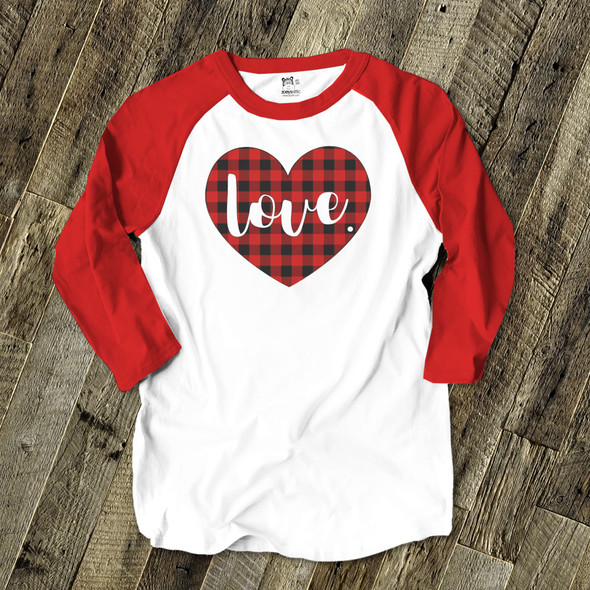 Valentine love red buffalo plaid heart adult raglan shirt